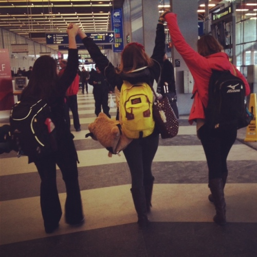 Carly, Caitlin, and me proudly walking through O'Hare, ready for the adventure to come!