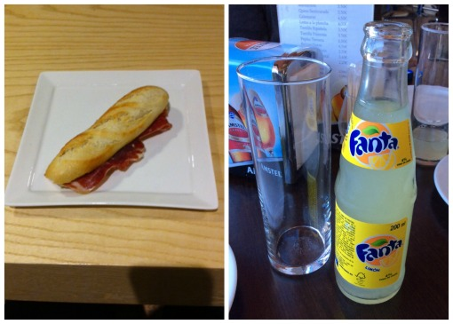 Bocadillo de Jamón Ibérico and a Fanta Limón, my favorites!