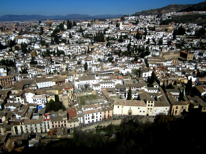 View of part of Granada from a tower of La Alhambra.