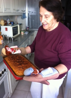 My Madre, Teresa with a Spanish cake called a bizcocho.