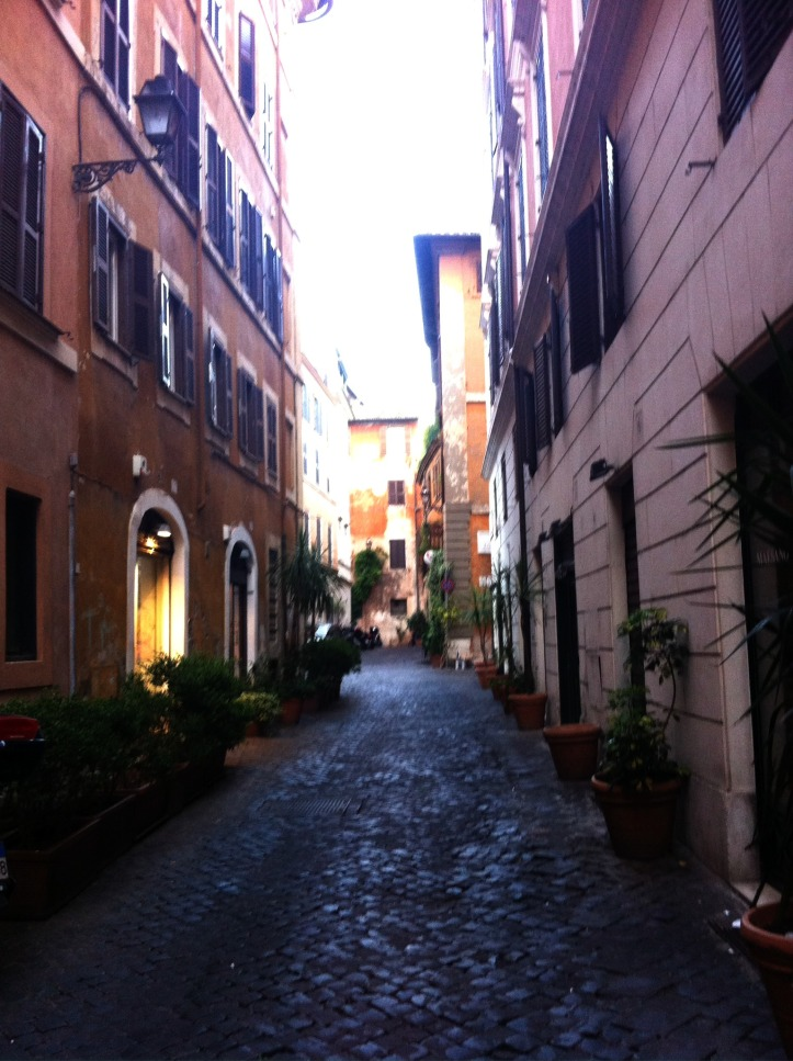 Quiet street off the main drag...Rome, Italy.