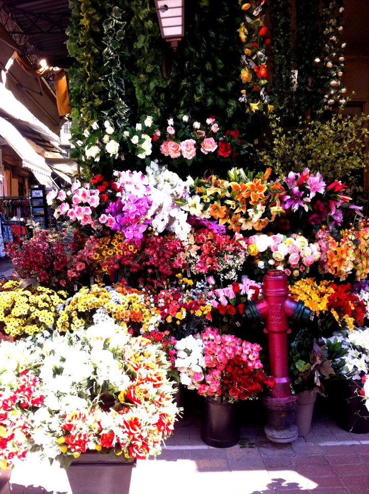 Lovely flower stand at a market in Thessoloniki, Greece