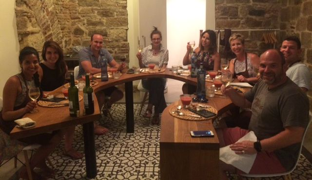 Enjoying our meal as a group after the cooking class in Barcelona!